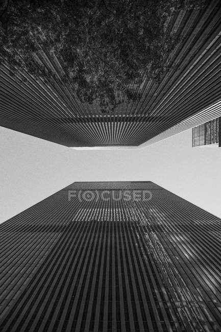 USA, New York City, 1251 Avenue of the Americas, low angle view of buildings — Stock Photo