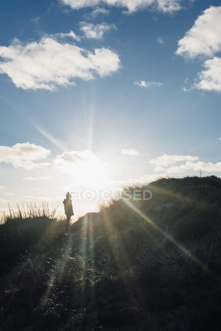 Dinamarca, Jutlandia del norte, muchacho parado en las dunas en contraluz - foto de stock