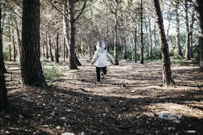 Vista posteriore del bambino che indossa una giacca incappucciata che corre nel bosco — Foto stock