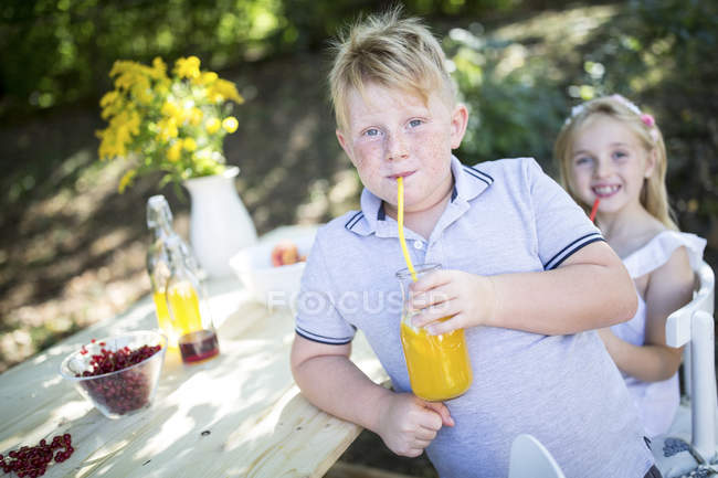 Soeur et frère buvant de la limonade maison à table de jardin — Photo de stock