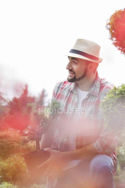 Porträt von Gärtner halten Topfpflanze — Stockfoto