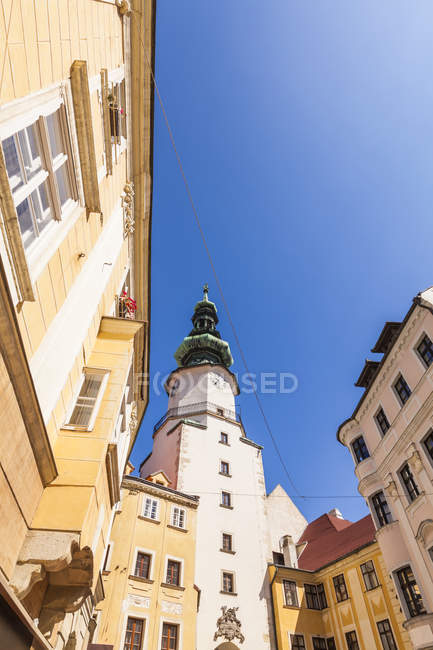 Slovakia, Bratislava, view to Michael's Gate at the old town from below — Stock Photo
