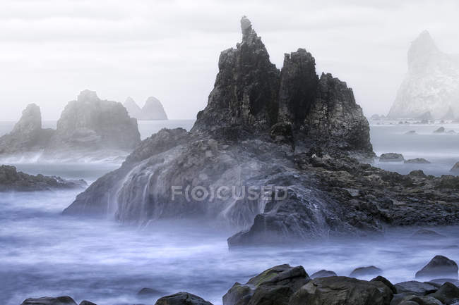 The rocky coast of Taganana with the formations of Los Roques de Anaga in the northeast coast of Tenerife, Canary Islands — Stock Photo
