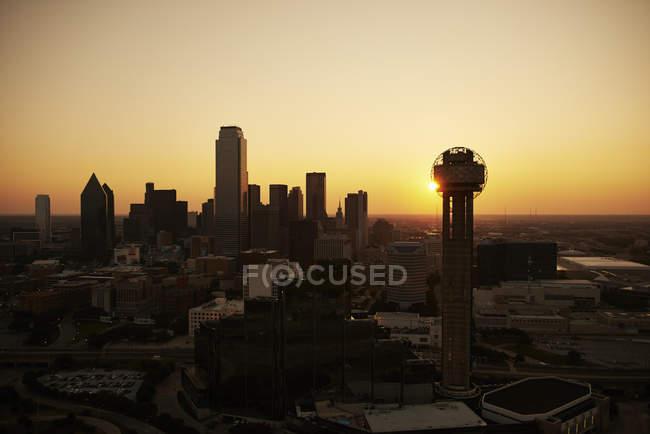 Fotografia aerea di Stati Uniti, Texas, sullo skyline di Dallas ad alba — Foto stock
