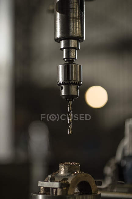 Close-up of Metal drill on blurred background — Stock Photo