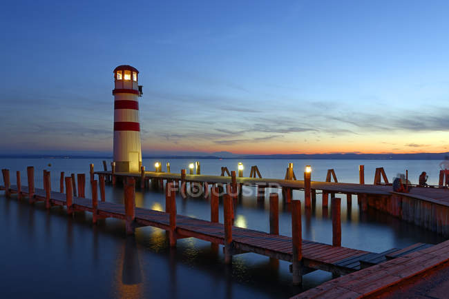 Austria, Seewinkel, Podersdorf, lighthouse at twilight — Stock Photo