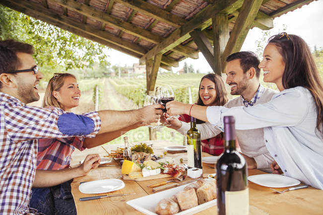 Friends clinking red wine glasses at table in vineyard — Stock Photo