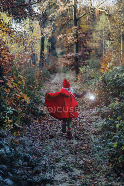 Little imp running in forest in forest, carrying lantern — Stock Photo