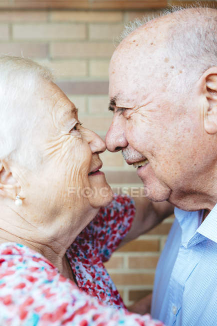 Senior couple rubbing noses, closeup — Stock Photo
