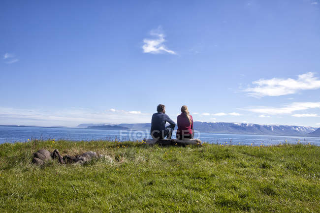 Islandia, vista trasera del par en vista - foto de stock