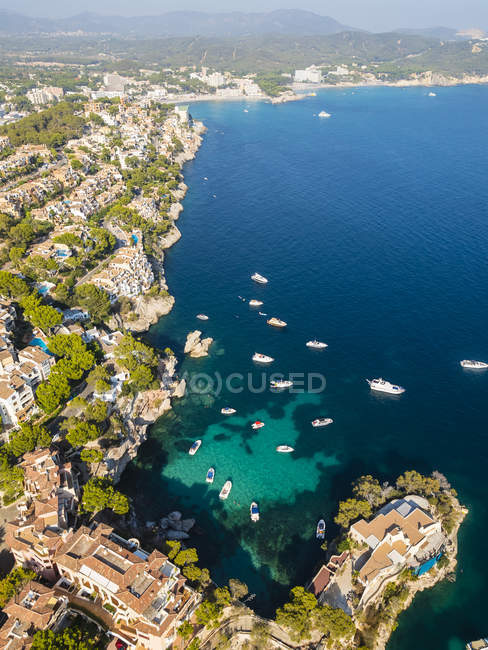 Spain, Balearic Islands, Mallorca, Cala Fornells, aerial view of Costa de la Calma — Stock Photo