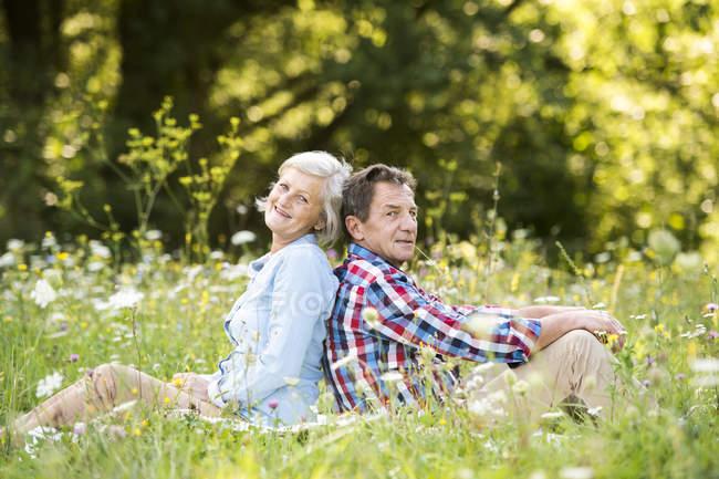 Seniorenpaar sitzt Rücken an Rücken auf einer Wiese — Stockfoto