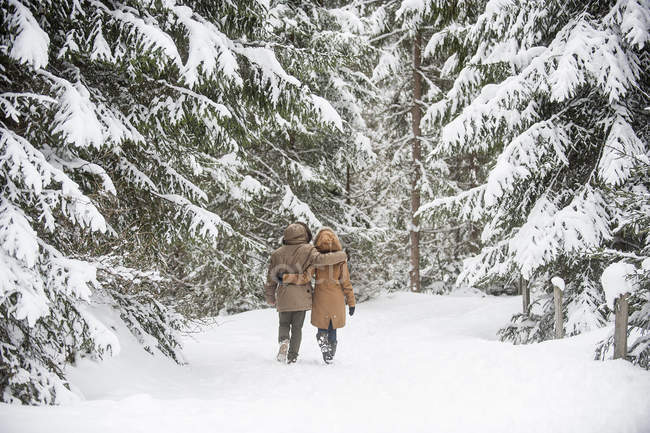 Happy couple walking in winter forest — Stock Photo