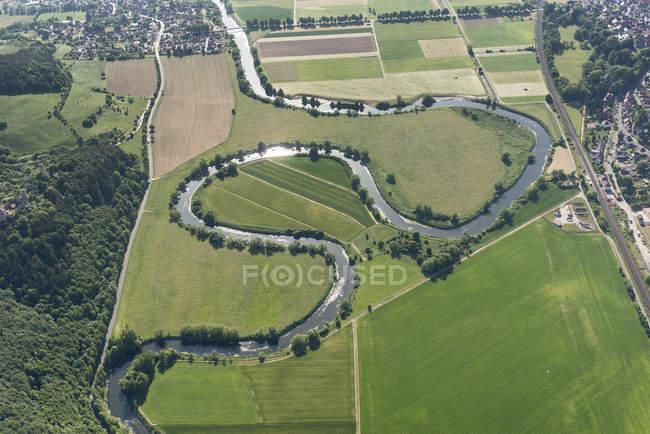 Alemanha, vista aérea de Werraschleife, fronteira entre a Turíngia e Hesse — Fotografia de Stock