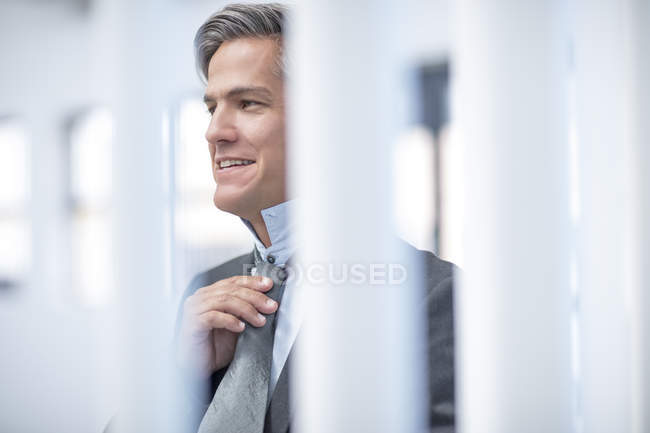 Lächelnder Bürokaufmann mit Krawatte — Stockfoto