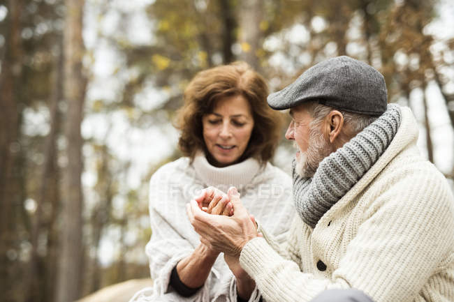 Senior couple holding hands in autumnal forest — Stock Photo