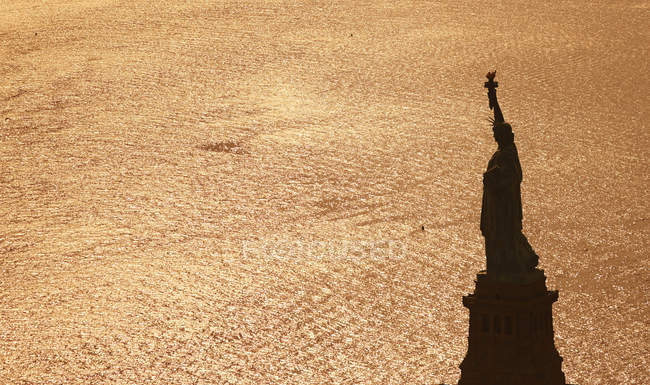 USA, New York City, view to Statue of Liberty from above — Stock Photo