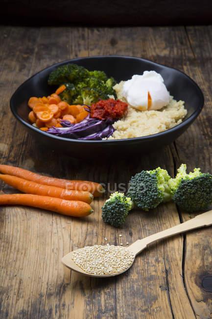 Mittagessen-Schüssel mit Quinoa, Rotkohl, Möhren, geröstete Kichererbsen, Brokkoli, pochiertem Ei und ajvar — Stockfoto