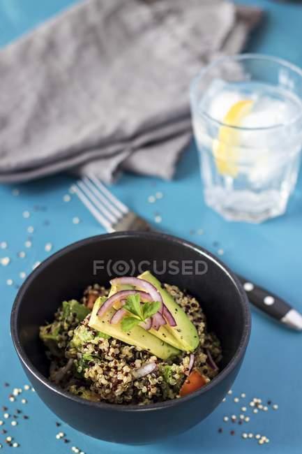 Крупним планом подання салат з квіноа і авокадо — стокове фото