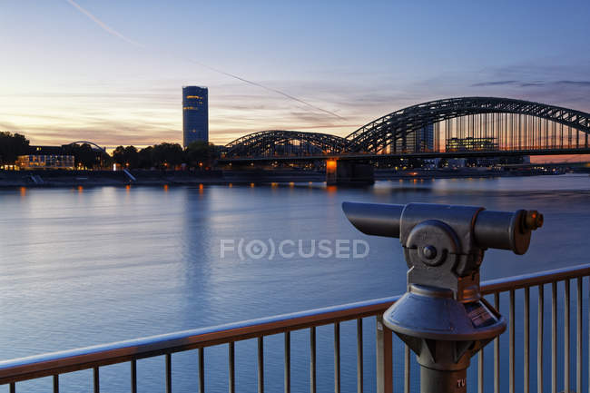 germany cologne view to koelntriangle and hohenzollern bridge at evening twilight travel destination urban scene stock photo 173613432