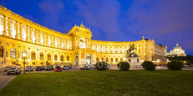 View of Hofburg palace with illumination at night , austria — Stock Photo