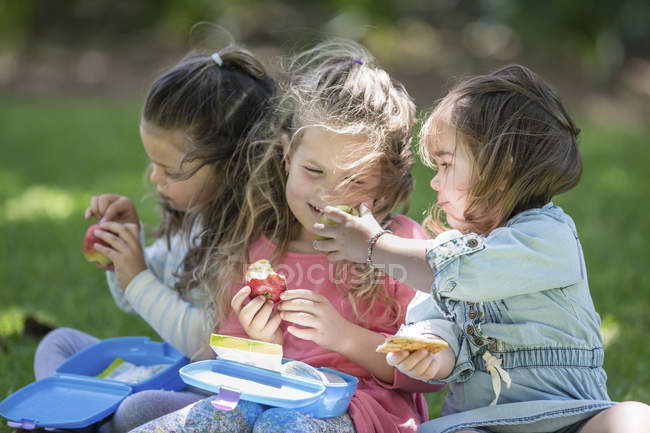 Cape Town, South Africa, Children in garden sharing lunch together — стоковое фото