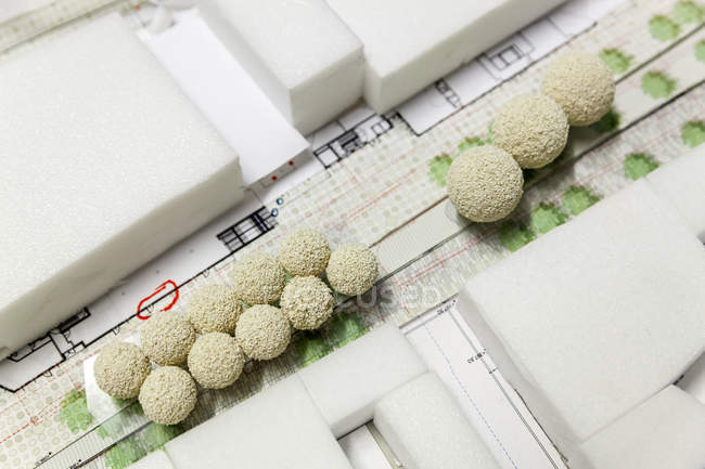 Closeup elevated view of architectural model — Stock Photo