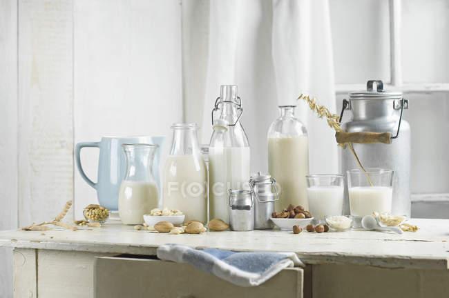 Веганское молоко, соевое молоко, миндальное молоко, молоко без лактозы, фундук, рисовое молоко, дубовое молоко — стоковое фото