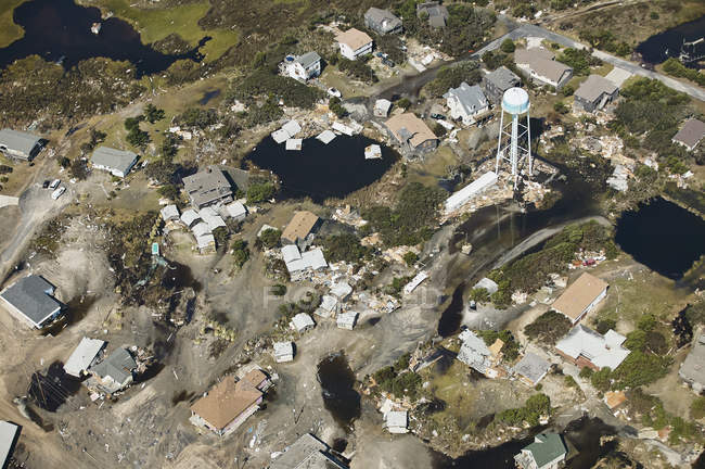 USA, Aerial view of Hurricane Isabel destruction along the Outer Banks of North Carolina near Kitty Hawk — Stock Photo