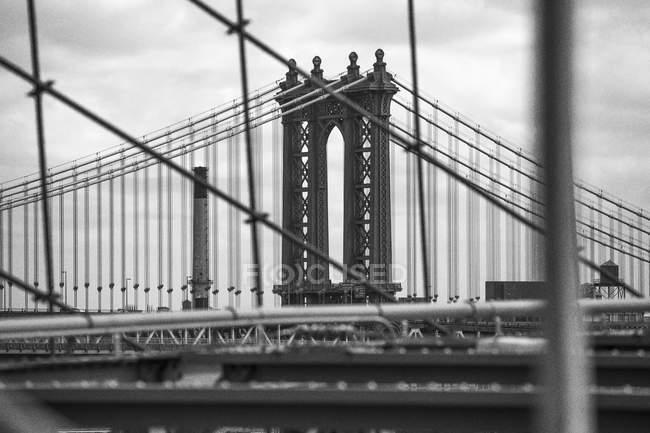 США, Нью-Йорк, частиною Бруклінський міст — стокове фото