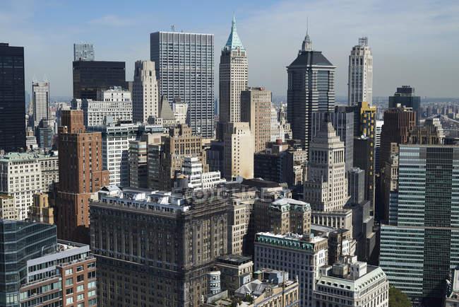 Début après-midi photographie aérienne de la ville de New York Financial District (Wall Street) à la pointe sud de l'île de Manhattan, Usa — Photo de stock