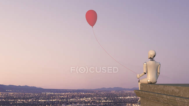 Back view of robot sitting on edge of a roof with a balloon, 3D Rendering — Stock Photo