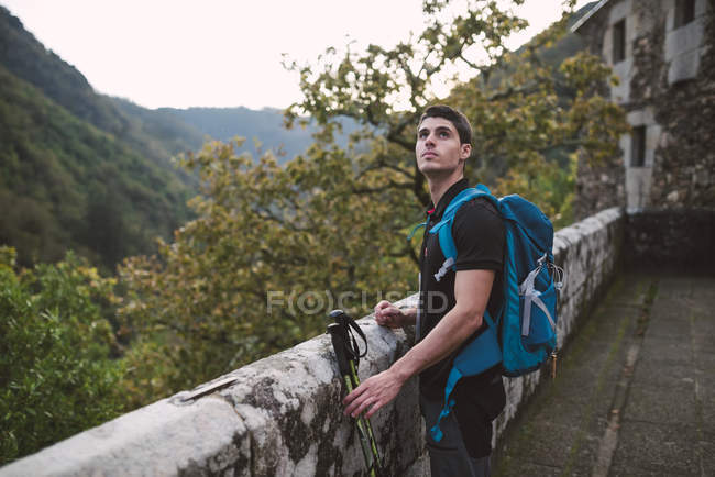 Hiker man standing near stone wall and contemplating forest — Stock Photo