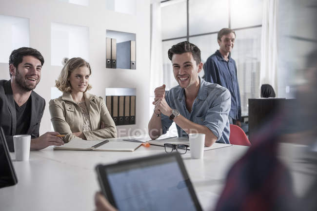 Casual business meeting in boardroom at office — Stock Photo