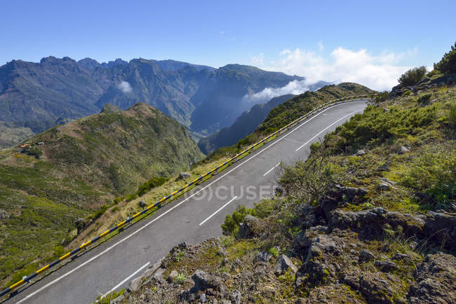 Portugal, Madeira, Mountain road with clouds — Stock Photo