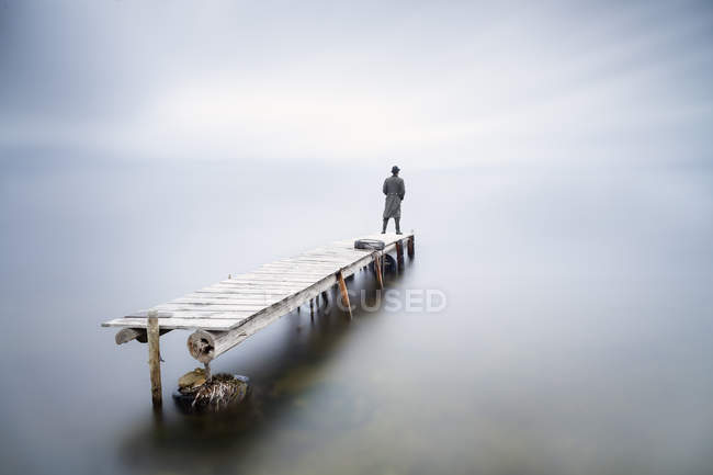 Back view of man standing on jetty watching looking at distance — Stock Photo