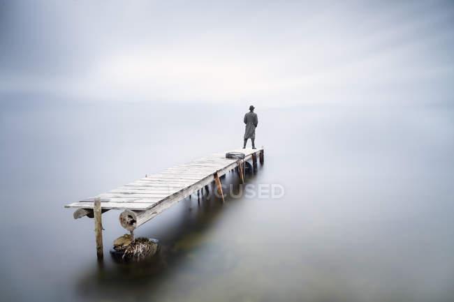 Вернуться мнение человека, стоящего на пристани смотреть глядя на расстоянии — стоковое фото