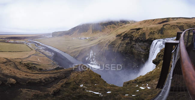 Panoramic view of Skogafoss waterfall from the top, Iceland. — Stock Photo