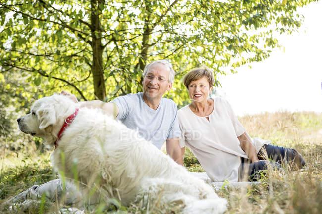 Couple sénior avec chien de compagnie en plein air — Photo de stock