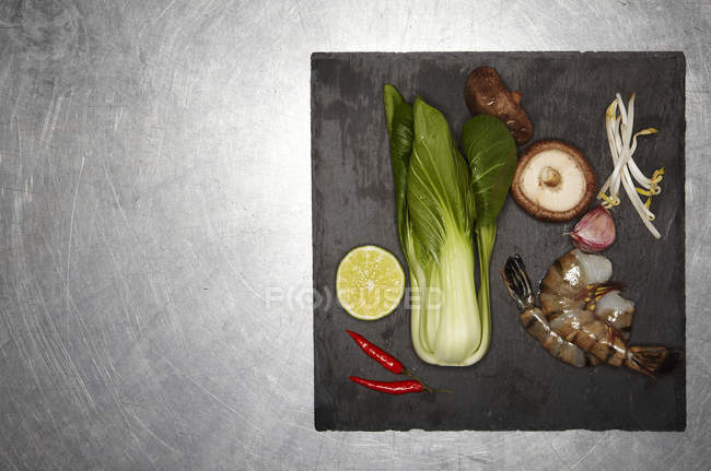 Ingredients for Asian style prawn burger — Stock Photo