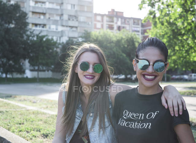Two fashionable female friends — Stock Photo