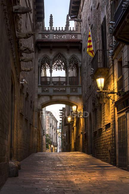 Spain, Barcelona, Barri Gotic, view of street  during daytime — Stock Photo