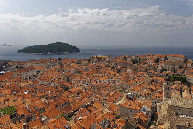 Lokrum Island and old town, Dubrovnik — Stock Photo