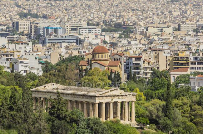 Храм Гефеста і міський пейзаж — стокове фото