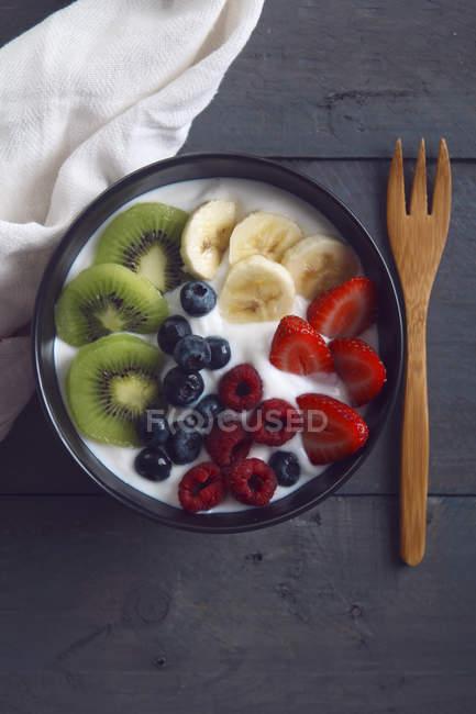 Ciotola di yogurt naturale — Foto stock