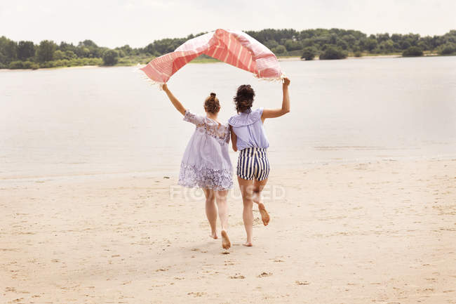 Задний вид двух друзей, бегущих бок о бок на пляже держа тряпку над головами — стоковое фото