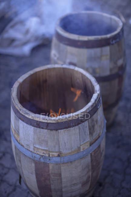 Barris de vinho e fogo — Fotografia de Stock