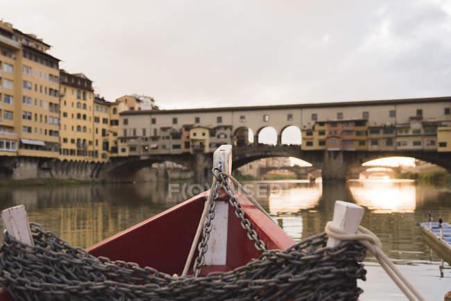 Ponte Vecchio by boat — Stock Photo