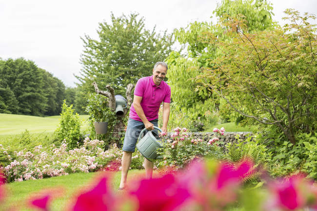 Man watering roses in garden — Stock Photo
