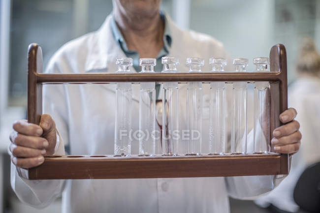 Cropped image of scientist in lab holding test tubes in rack — Stock Photo